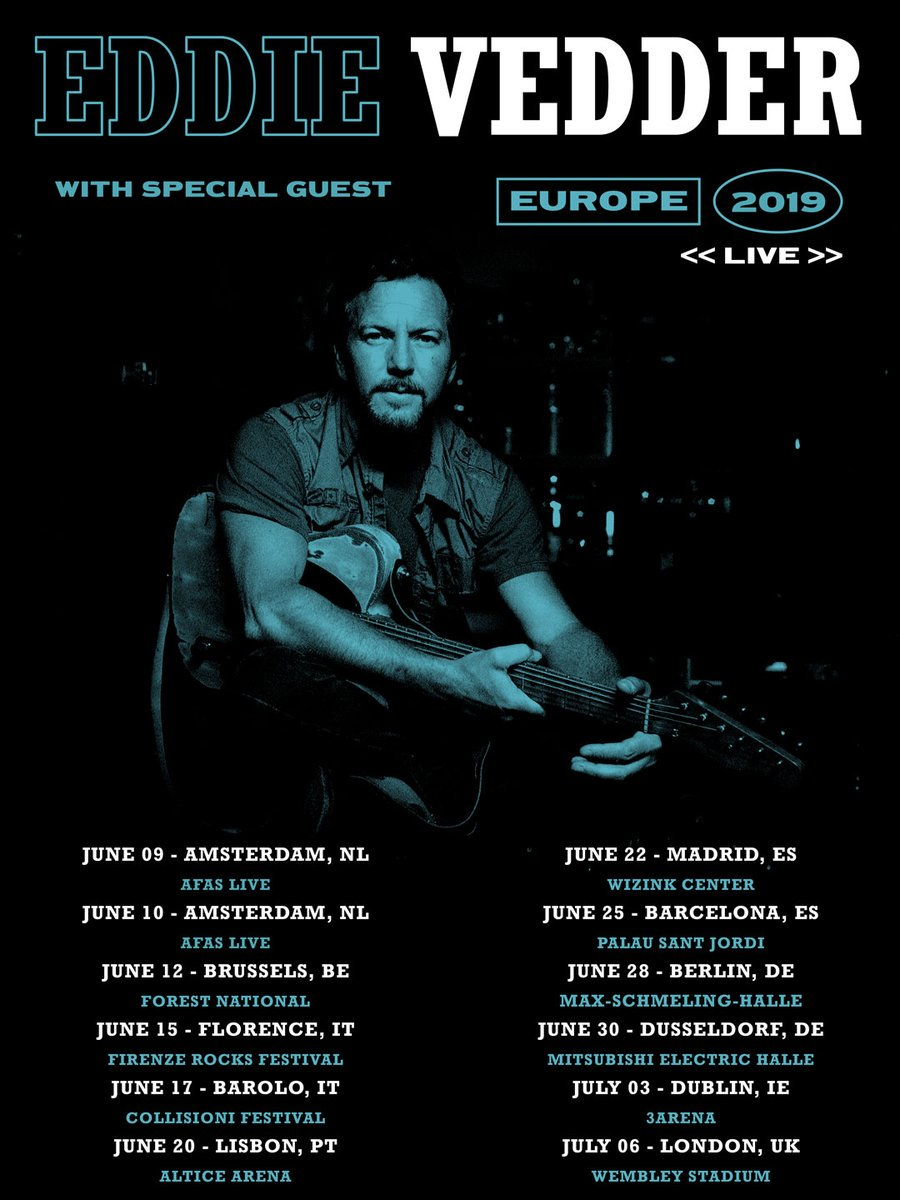 Eddie Vedder Announces 2019 European Tour Dates Pearljamonline It
